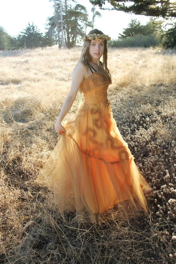 GOLD DUST Vintage 1940's Formal Dress Evening Gown Wedding Dress Tulle Party Black Velvet Straps Princess Cut