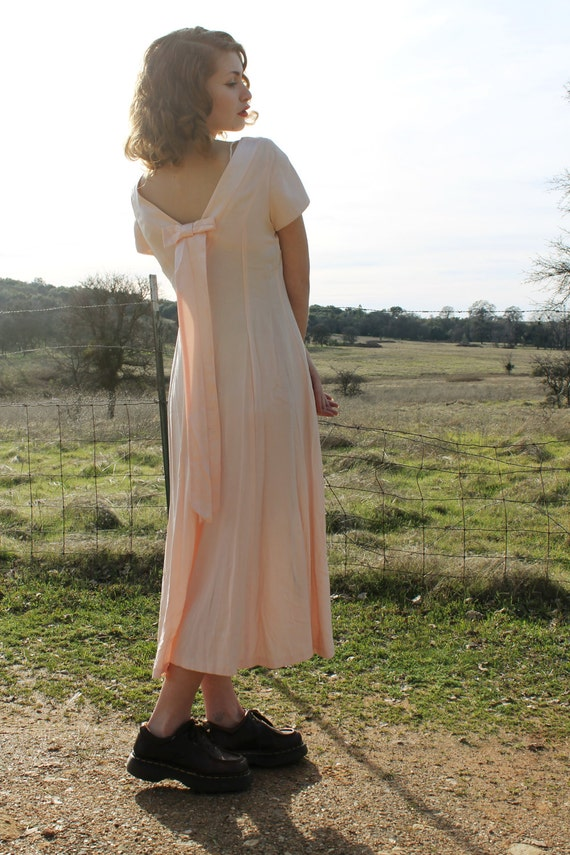 PEACHES AND CREAM 1980's Vintage Party Dress Gown Formal Open Back
