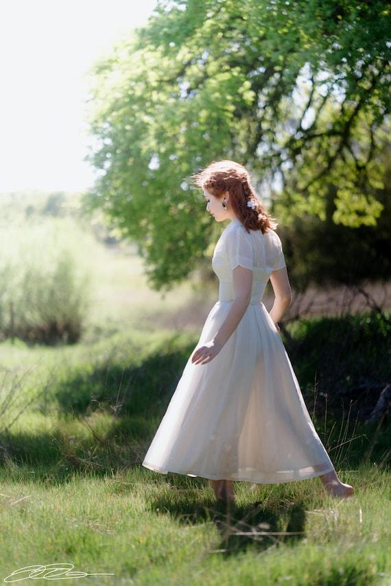 HONEY 1940's Vintage Wedding Dress Classic Strapless Hourglass Bridal Attire Tea Length Matching Shrug XXS