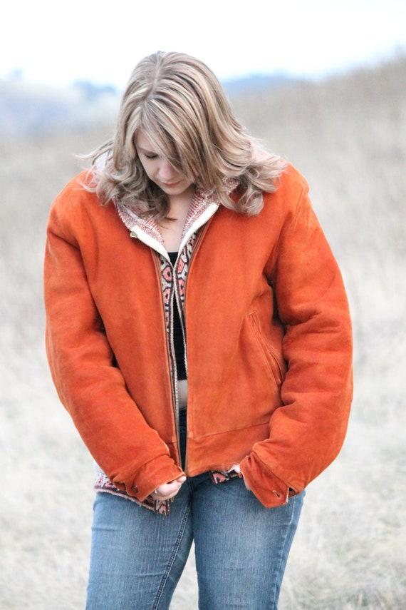 BURNT ORANGE Vintage Sued Leather Jacket with Soft Lining