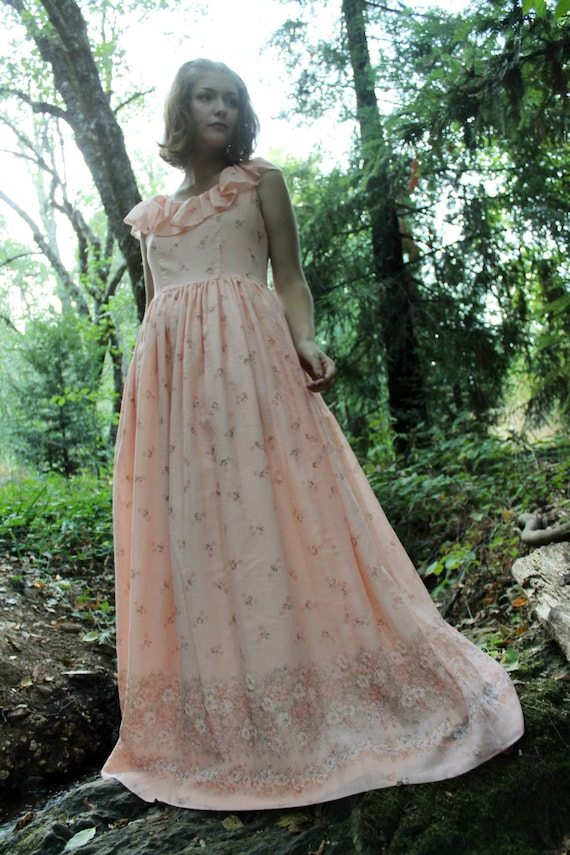 MEADOW  Vintage 1970's Dress Peach and Rust Floral Print Flutter Sleeve Maxi Length