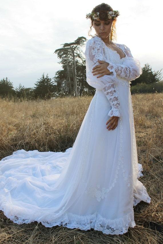 MEADOW Vintage 1980\'s Wedding Dress White Princess Cut | Etsy