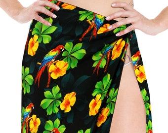 899b4747e483d LA LEELA Women s Swimsuit Beachwear Coverup Sarong Swimwear Skirt Bathing  Suit Towel Wrap Bali Printed Pareo One Size Black-906416