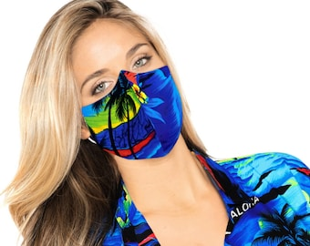 American Small Business LA LEELA 2 Layers Palm Tree Face Shields Masks Bandanas for Dust Wind Sun Protection Outdoors Festivals Sport R_Blue