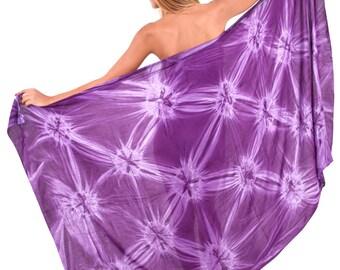 44b88ec5faec2 La Leela Smooth Rayon Hand Tie Dye Swimwear Swimsuit Beachwear Cover up  Dress Plus Size Wrap Pareo Women Sarong 78X43 Inch - PURPLE- 901254