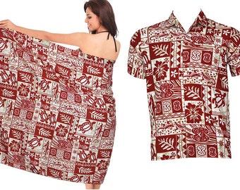 9aeb4abac 2 Pack La Leela White Red Likre Printed Beach Swim Buy 1 Shirt Get 1 Sarong  Casual Skirt Women Cover up Vintage Hawaiian Camp Shirt Men