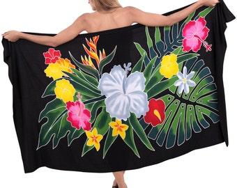 9ce56b99fd93d La Leela Soft Rayon Hibiscus Plus Size Bikini Swimwear Swimsuit Beachwear  Cover up Dress Hand Paint Sarong 78X43 Inch Black -901084