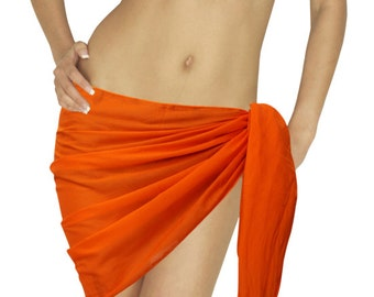 a22459d438 Mini Sarong Cover up See Through Cotton Skirt Swimsuit Swimwear Beachwear  Scarf Orange-119632