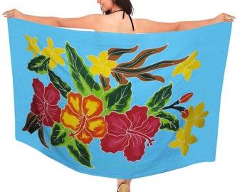 20d67b84c1b81 La Leela Coverup Hand Paint Rayon Swimwear Swimsuit Plus Dress Hibiscus  Sarong Women Blue Bikini Wrap Slit Skirt Plus 78X43Inch - 123078