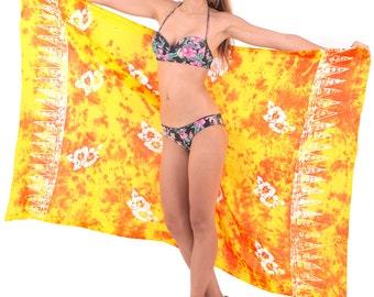 fb43a83e48a7c LA LEELA Sarong Bathing Suit Pareo Wrap Bikini Cover up Womens Skirt  Swimsuit Swimwear - 78X43 Inch - Yellow -901108