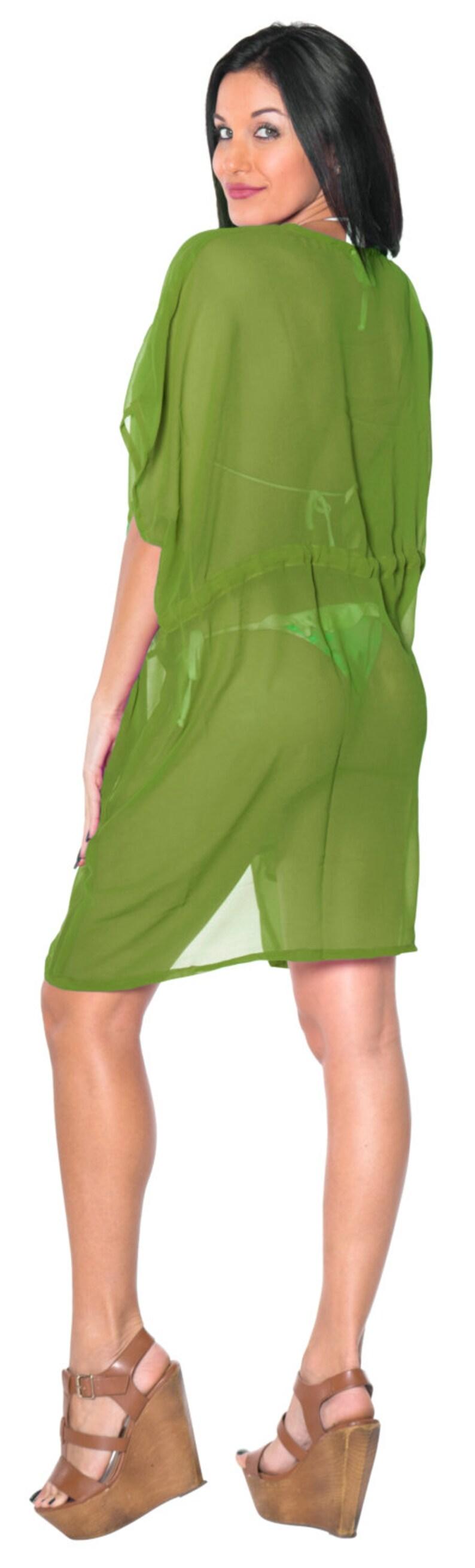 119626 La Leela Chiffon Colorful Swimwear Beach  Cover up Caftan Kaftan Green Plus Size sheer Women Swimwsuit Dress