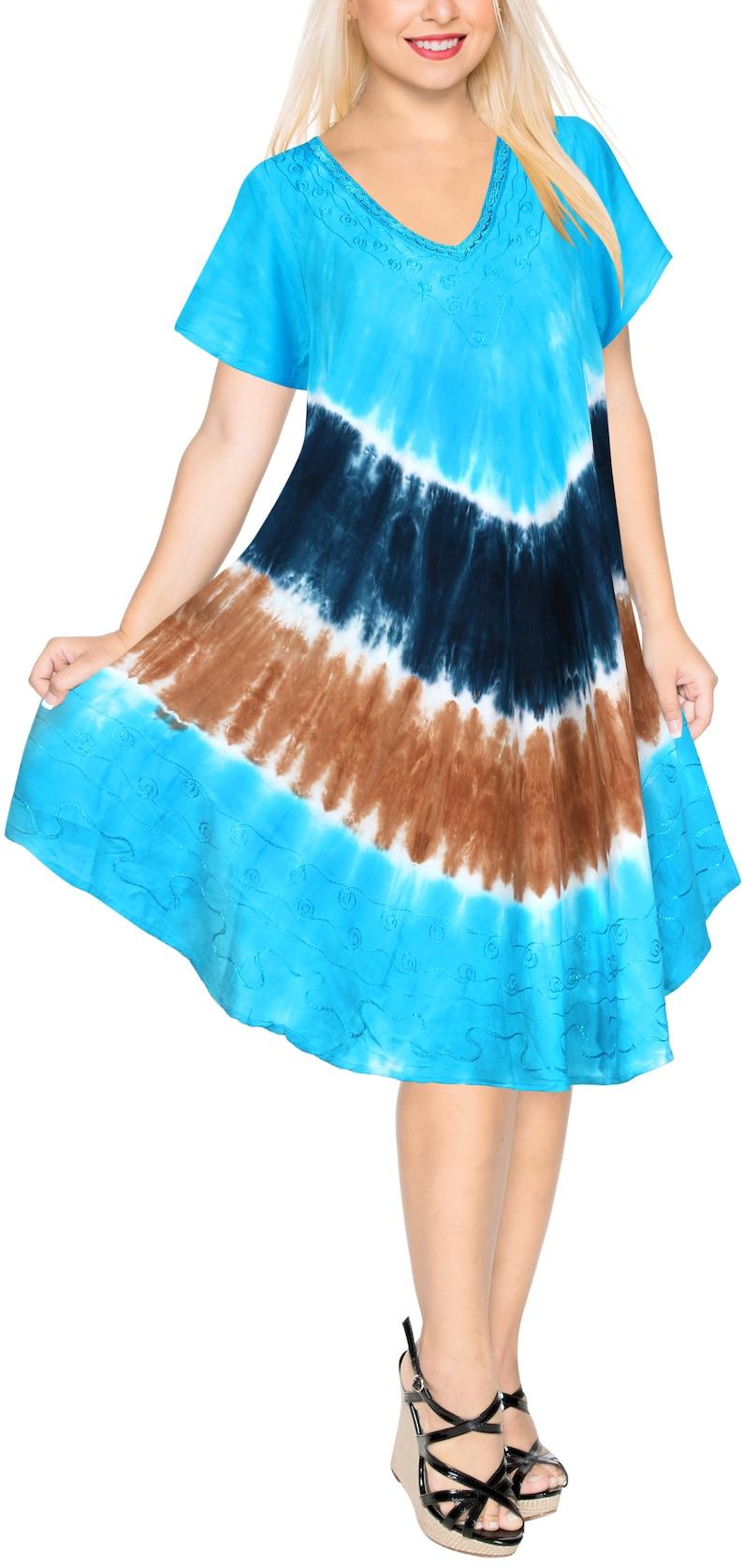 90ab23d414 LA LEELA Soft Rayon Casual Hand Tie Dye Neck Ari Short Beach