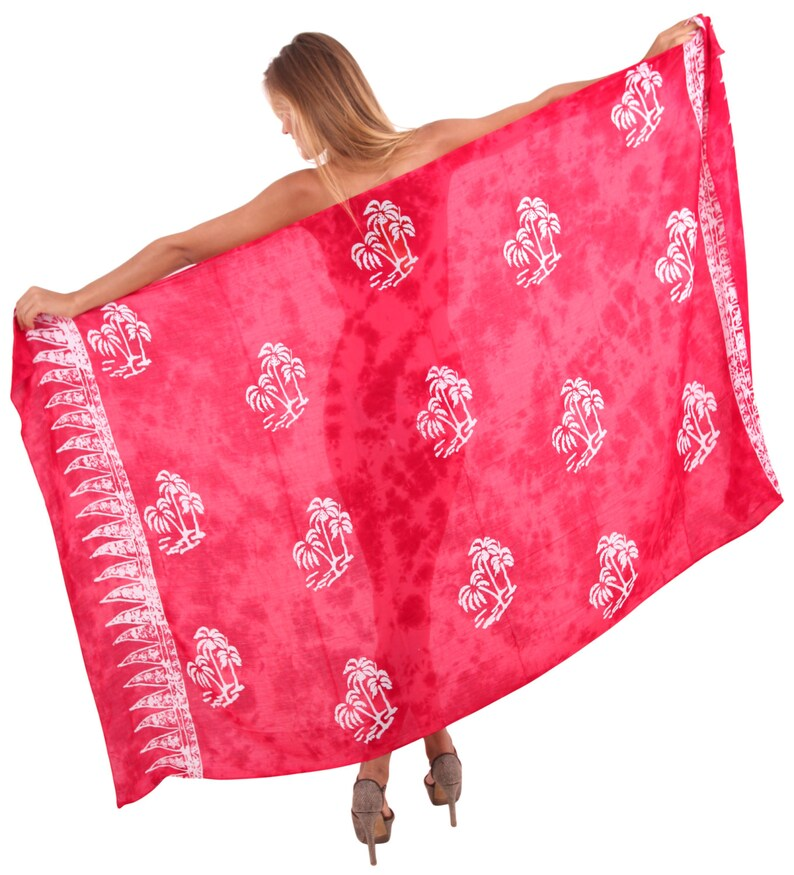 901092 La Leela Smooth Rayon Sarong Skirt Coconut Tree Swimwear Swimsuit Beachwear Cover up Dress Hand Paint Plus Size 78X43 Inch Wrap Red