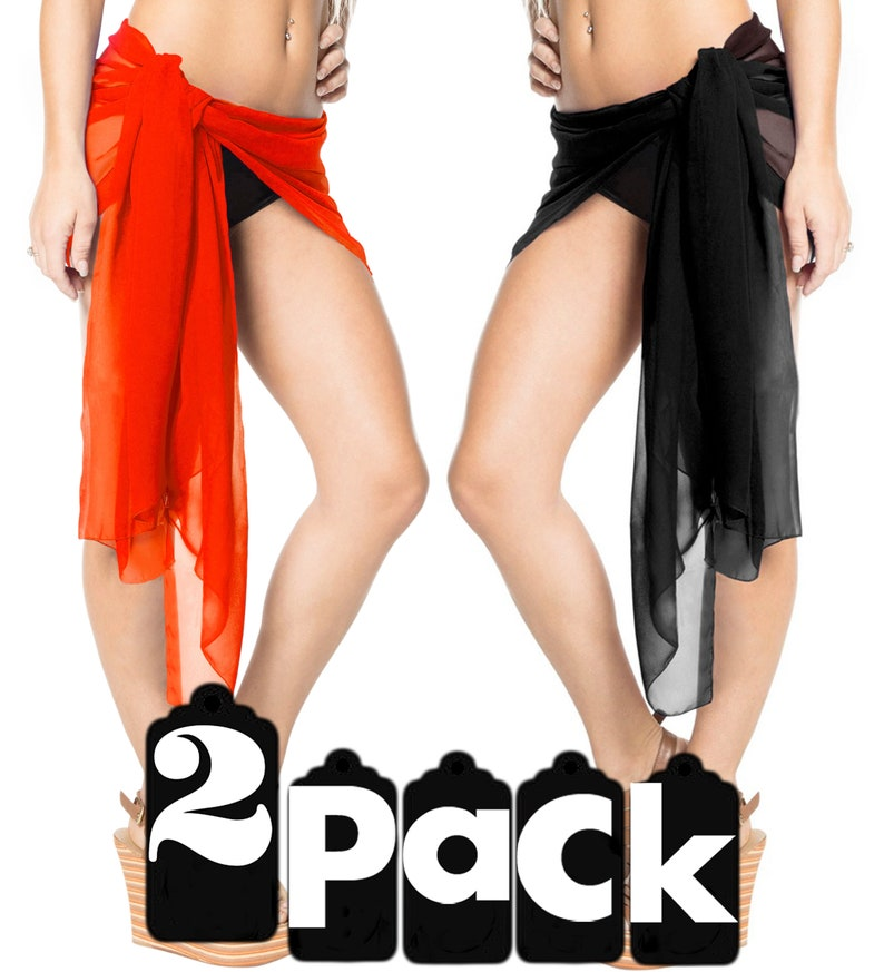 9320353dcf8e6 LA LEELA 2 Pack Mini Pareo Wrap Skirt Scarf Half Sarong Womens | Etsy