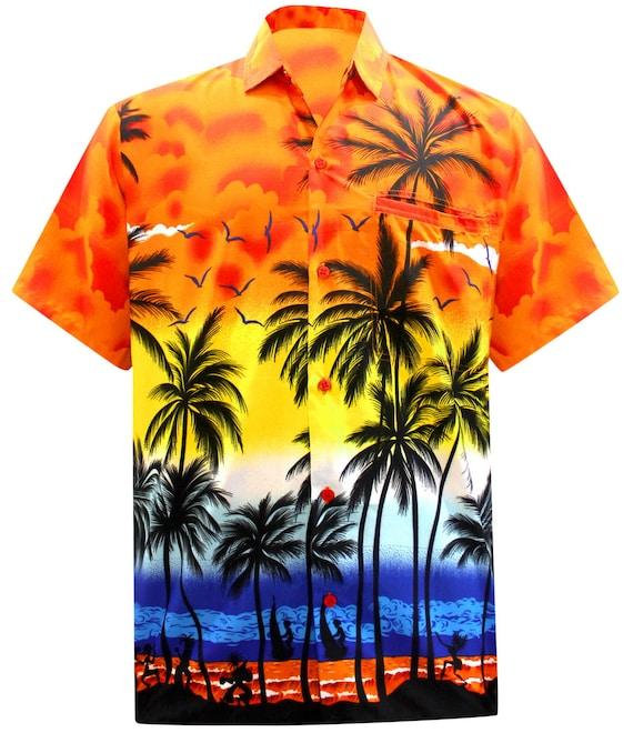 La Leela Hawaiian Shirt For Men Short Sleeve Front Pocket Palm Tree Print Orange Shirt Likre 999 Orange