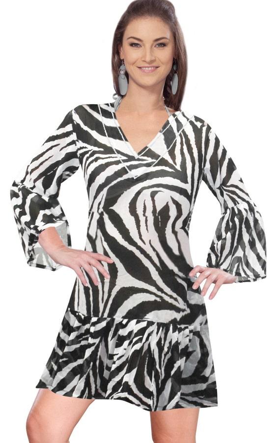 0a0e6e274f73b La Leela Animal Skin Printed Beach Swim V-Neck Cover upTunic