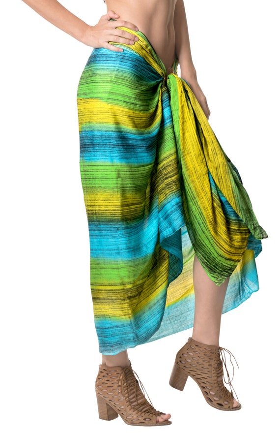 2a8a14722c La Leela Rayon Resort Suit Women Wrap Beach Sarong Tie Dye