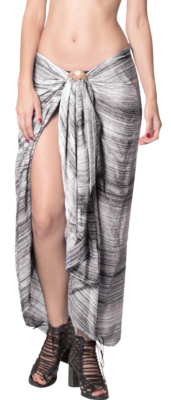 6970561128796 La Leela Rayon Beach Bikini Long Suit Women Sarong Tie Dye