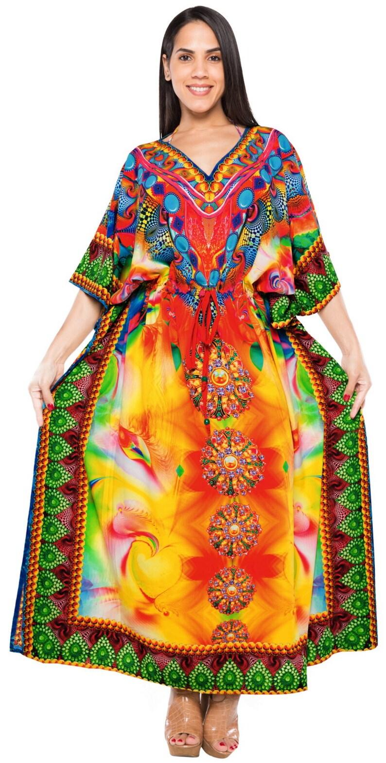 2c0785744f LA LEELA Women's Nightgown Caftan Plus Size HD Designer Drawstring Dress  L-4X Plus Size Lounge Wear - 134683