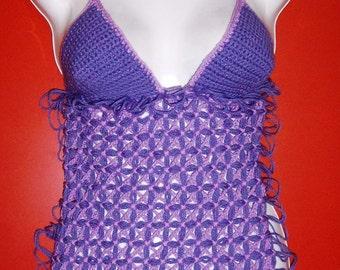 Gorgeous Handmade Designer Crochet Bikini Halter Top, ONE OF A KIND
