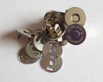 Magnetic Bag Clasp 14mm Silver THIN/ Nickel 5, 10 sets