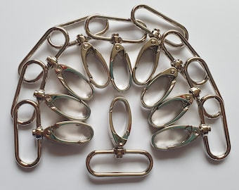 Silver / Nickel / Chrome Lobster Claw Clips 38mm for Bags - Various Quantities