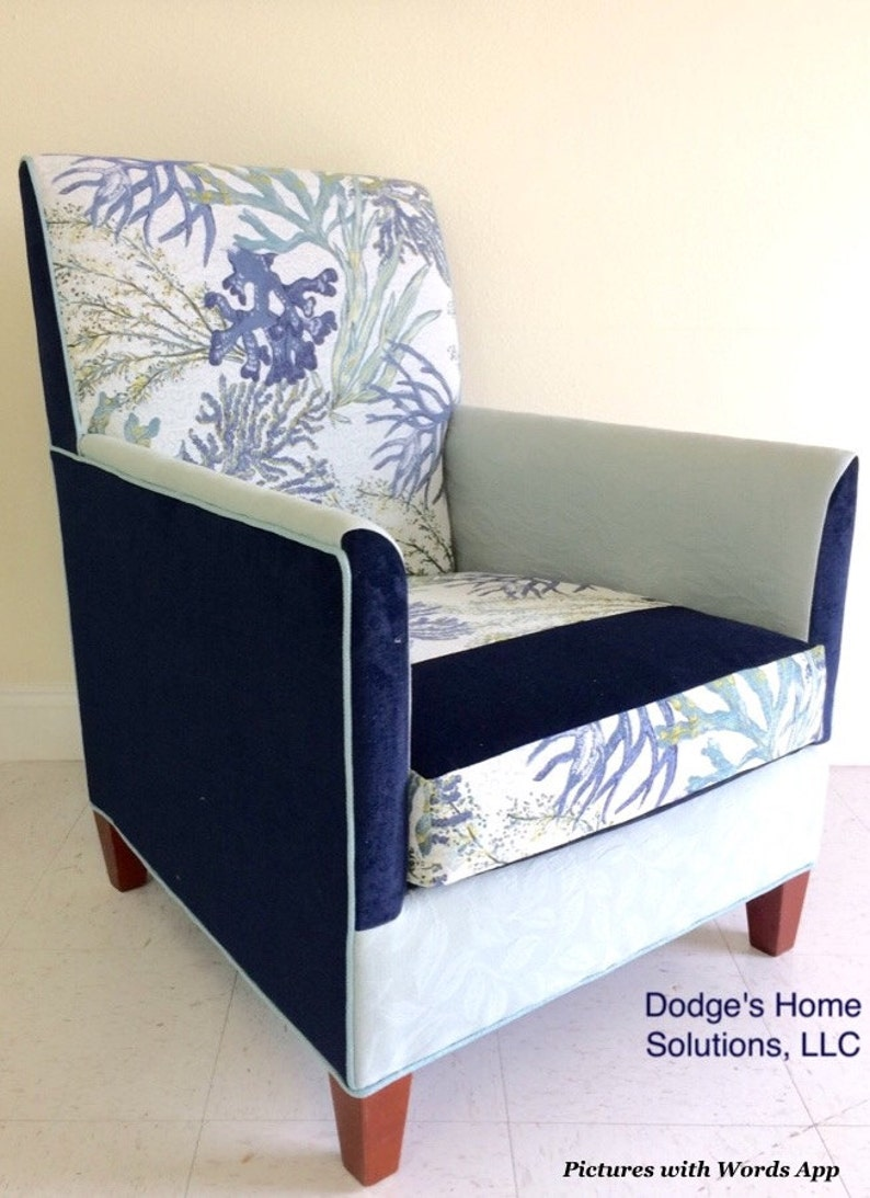 Custom Fabric Accent Chairs.Upholstered Accent Chair In A Blue Green Coastal Jacquard Fabric Sold Custom Order