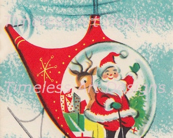 Digital Download Image, Cute Santa Claus In His Bright Red Helicopter With Reindeer, Vintage Christmas Card Image! Santa Printable.