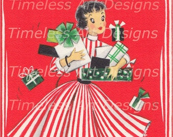 Digital Download Image, Pretty lady Wearing Red & White Striped Dress, Gifts, Dog, Vintage Christmas Card, Christmas Lady Printable!