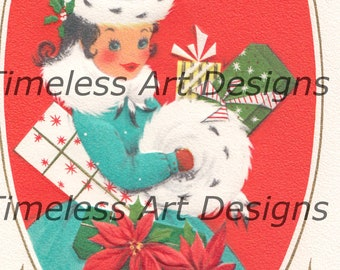 Digital Download, Pretty Young Lady With Matching Muff & Hat, Christmas Presents, Vintage Christmas Card, Christmas Printable!