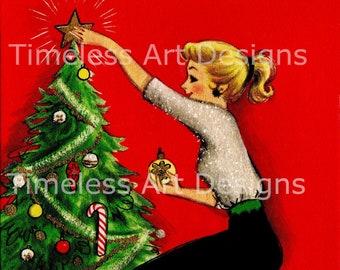 Digital Download Image, Pretty Blond Lady, Woman Decorating Christmas Tree, Vintage Christmas Card. Christmas Lady Printable!