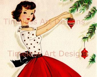 Digital Download Pretty Lady, Woman Red Skirt And Polka Dot Shirt, Hangs Christmas Ornaments On Tree, Vintage Christmas Card Digital Image!