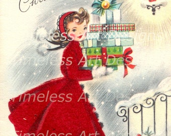 Digital Download Image, Beautiful Young lady With Arms Full Of Presents, Vintage Christmas Card, Holiday Card, Christmas Lady Printable!