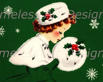 Digital Download Image, Pretty Young Lady In Matching Winter Hat And Muff, Vintage Christmas Card Image! Christmas Lady Printable