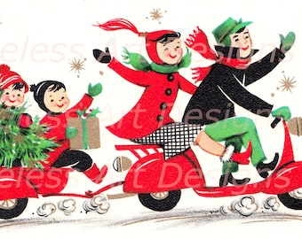 Instant Digital Download Image, Happy Family Riding On A Motor Cycle, Vintage Christmas Card. Holiday Printable.