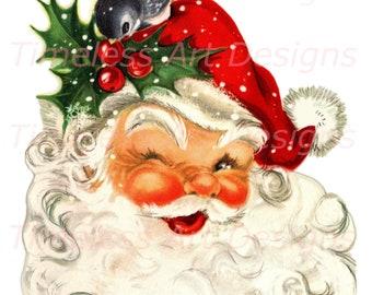 Digital Download Image, Jolly Old Santa Claus Face, Winking Santa, Bird, Vintage Christmas Card. Santa Printable.  1 jpg & 1 png