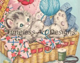 Vintage Kitten in sweater with Flower Basket Notecard By Sangamon Unused