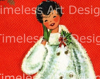 Digital Download Image, Pretty Young Lady In White Coat Walking Her Dog, Vintage Christmas Card, Greeting Card,  Christmas Lady Printable!