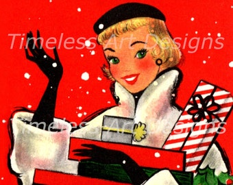 Digital Download Image, Pretty Blond Lady Carrying Christmas Gifts, Waving, Vintage Christmas Card, Holiday Card, Christmas Lady Printable!