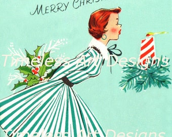 Digital Download Image, Pretty Young Lady Blowing Out Christmas Candle, Vintage Christmas Card. Christmas Printable!