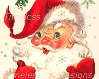 Digital Download Image, Jolly Santa Claus Under The Mistletoe, Vintage Christmas Card, Retro Santa Printable!