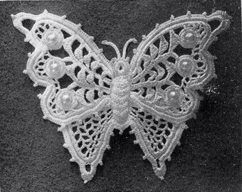1912  Irish Crochet Butterfly With Pearl Beads, Applique Reproduction Pattern - PDF Instant download