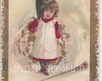 Digital download, Halloween Girl Witch, Vintage Greeting card Image! Instant download!