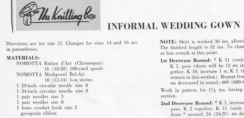 Vintage 1950's Nomotta Informal Wedding Dress Knitting Pattern PDF Instant  Download