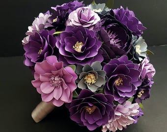 Paper Bouquet - Paper Flower Bouquet - Wedding Bouquet - Purple and Lavender - Custom Made - Any Color