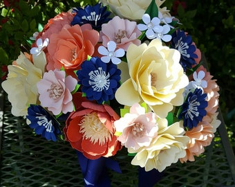Paper Bouquet - Paper Flower Bouquet - Wedding Bouquet - Shades of Coral, Peach and Navy Custom Made - Any Color