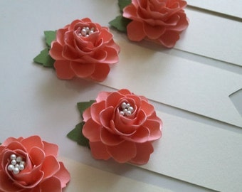 Place Cards - Escort Cards - Paper Flowers - Weddings - Table Decorations - Salmon - Set of 100 - Made To Order