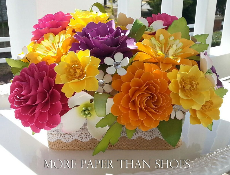 Paper Flower Centerpiece Table Arrangement Wedding Flowers Etsy