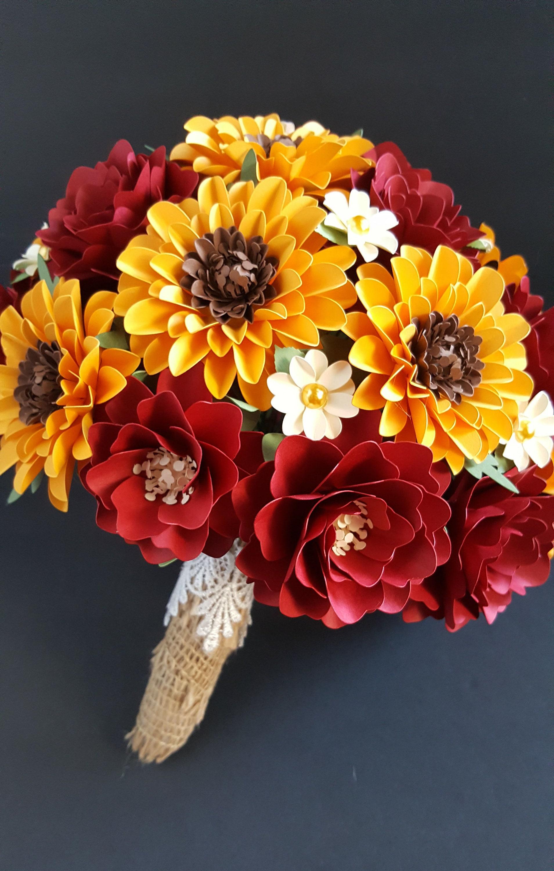 Paper Flower Bouquet Sunflower Bouquet Fall Bouquet Fall Etsy