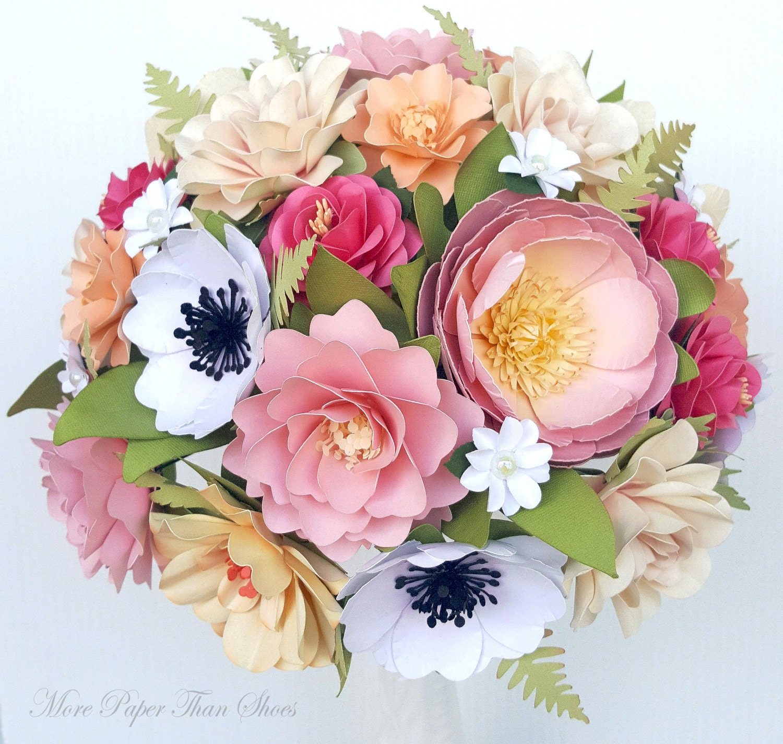 Paper Flower Bouquet Paper Flowers Wedding Bouquet Pink Etsy